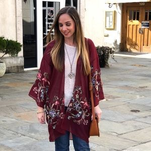 Tops - Floral Embroidered Kimono